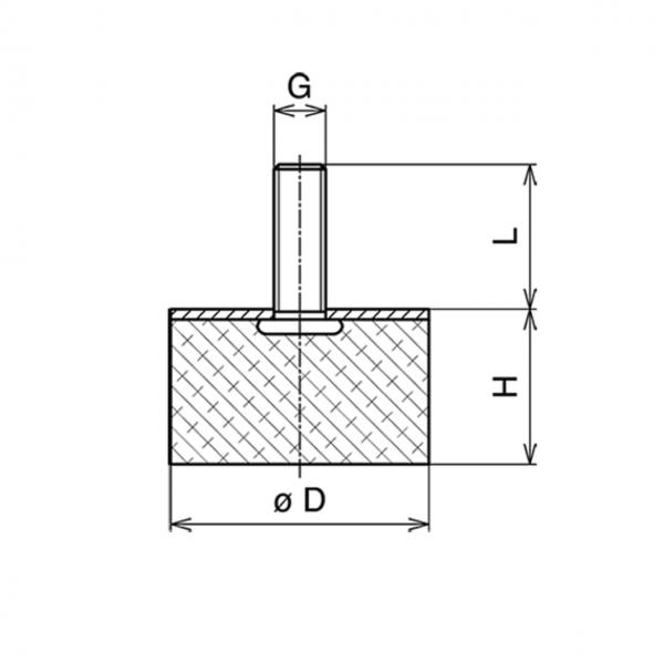 Gummi-Metall-Puffer Typ D 100x50mm / M16x41 AG