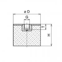 Gummi-Metall-Puffer Typ E 50x40mm / M10x10 IG