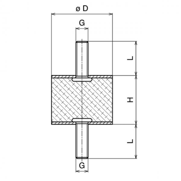 Gummi-Metall-Puffer Typ A 100x100mm / M16x41 AG