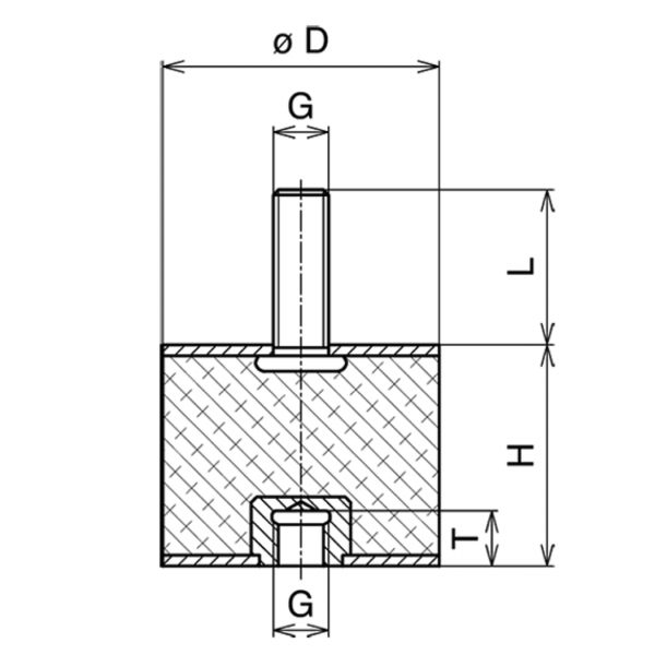Gummi-Metall-Puffer Typ B 50x30mm / M10x28 AG / M10x10 IG