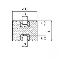 Gummi-Metall-Puffer Typ C 50x45mm / M10x10 IG